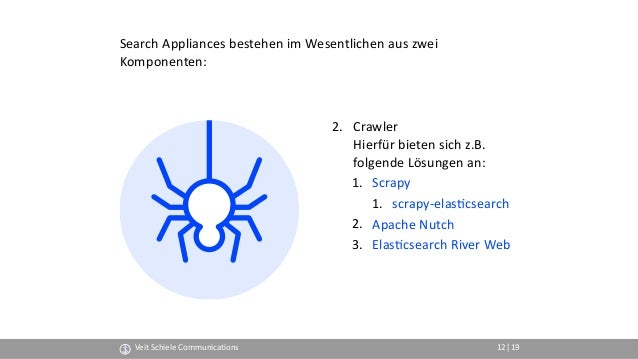 2. Crawler Hierfür bieten sich z.B.  folgende Lösungen an: 1. Scrapy 1. scrapy-elas(csearch 2. Apache Nutch 3. Elas(csea...