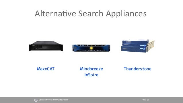 Alterna(ve Search Appliances MaxxCAT Veit Schiele Communica(ons 05 Mindbreeze InSpire Thunderstone |19