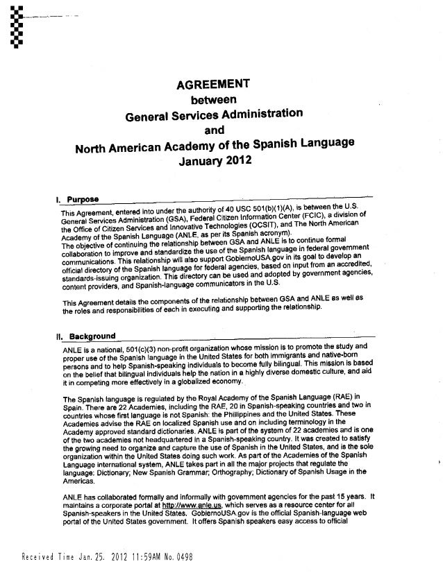 Agreement Between General Services Administration And North American