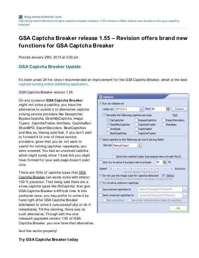 GSA Captcha Breaker version 1 55 -- Improvement offers brand-new func…