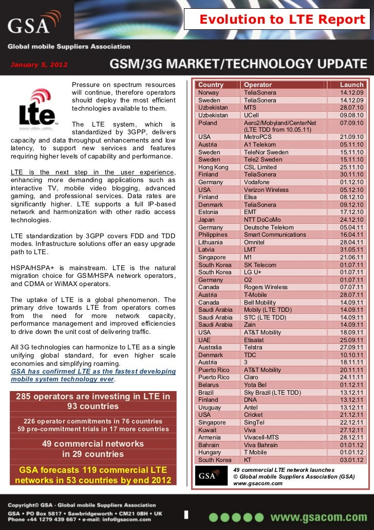 Evolution to LTE ReportJanuary 5, 2012                    Pressure on spectrum resources       Country           Operator ...