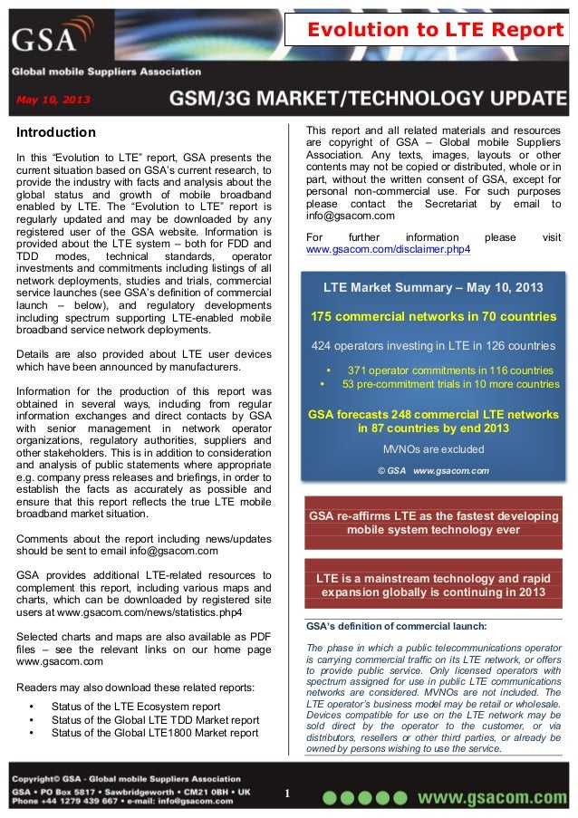"""May 10, 20131Evolution to LTE ReportIntroductionIn this """"Evolution to LTE"""" report, GSA presents thecurrent situation based..."""
