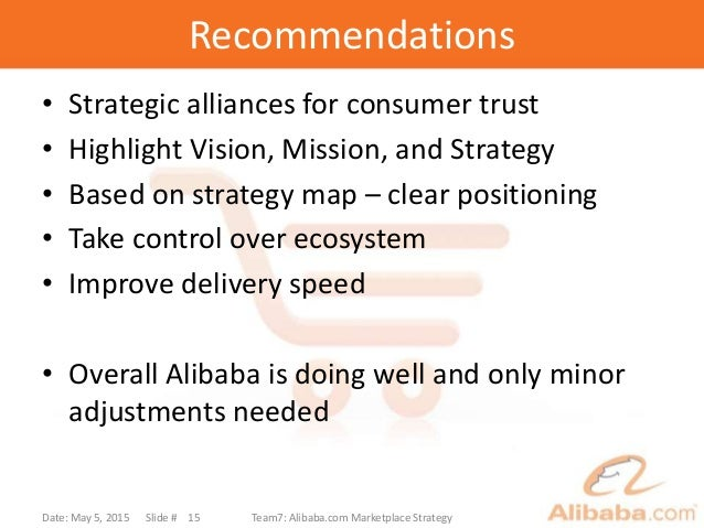 Recommendations • Strategic alliances for consumer trust • Highlight Vision, Mission, and Strategy • Based on strategy map...
