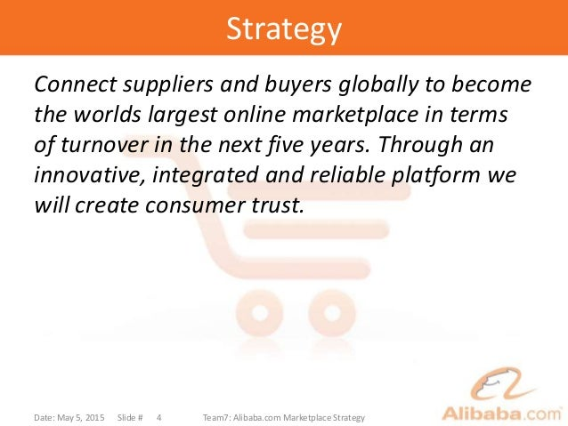 Strategy Connect suppliers and buyers globally to become the worlds largest online marketplace in terms of turnover in the...