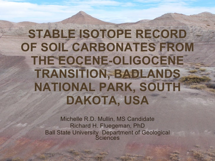 STABLE ISOTOPE RECORD OF SOIL CARBONATES FROM THE EOCENE-OLIGOCENE TRANSITION, BADLANDS NATIONAL PARK, SOUTH DAKOTA, USA M...