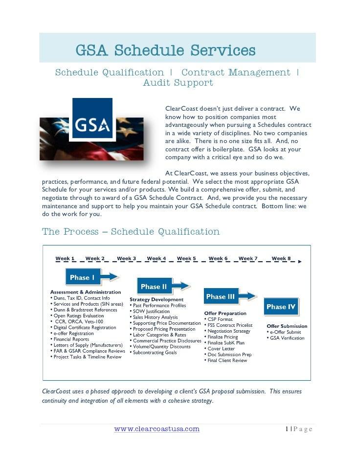 GSA Schedule Services    Schedule Qualification   Contract Management                        Audit Support                ...