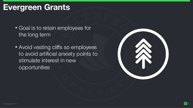 ©2014 Wealthfront Inc. 25 Evergreen Grants • Goal is to retain employees for the long term • Avoid vesting cliffs so emplo...