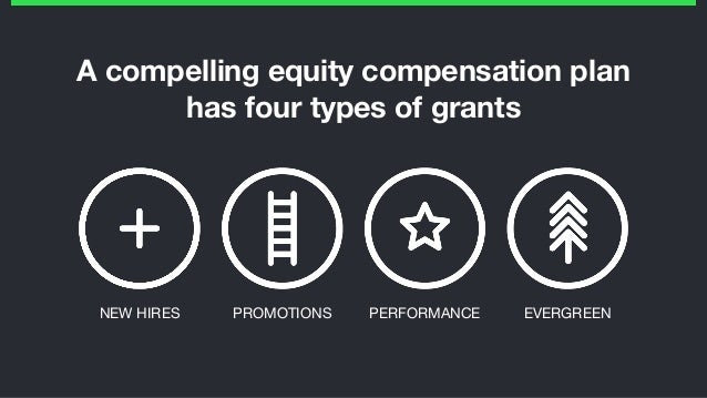 A compelling equity compensation plan has four types of grants PROMOTIONS PERFORMANCE EVERGREENNEW HIRES