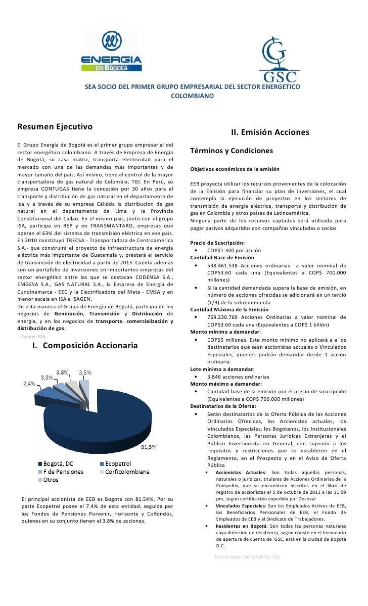 SEA SOCIO DEL PRIMER GRUPO EMPRESARIAL DEL SECTOR ENERGETICO                                                   COLOMBIANOR...