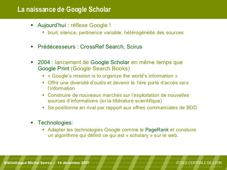 Google Scholar : un moteur de recherche pour l'information scientifique Slide 2