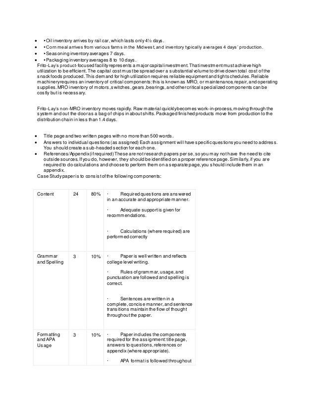 managing inventory at frito lay case study