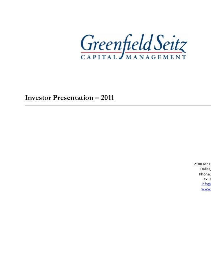 Investor Presentation – 2011                               2100McKinney,Suite1420                                  Dal...
