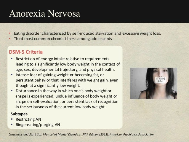 Anorexia Nervosa DSM-5 Criteria  Restriction of energy intake relative to requirements leading to a significantly low bod...