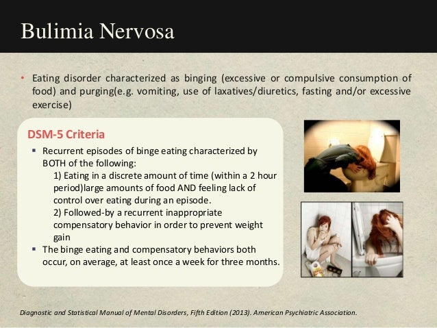 Bulimia Nervosa DSM-5 Criteria  Recurrent episodes of binge eating characterized by BOTH of the following: 1) Eating in a...