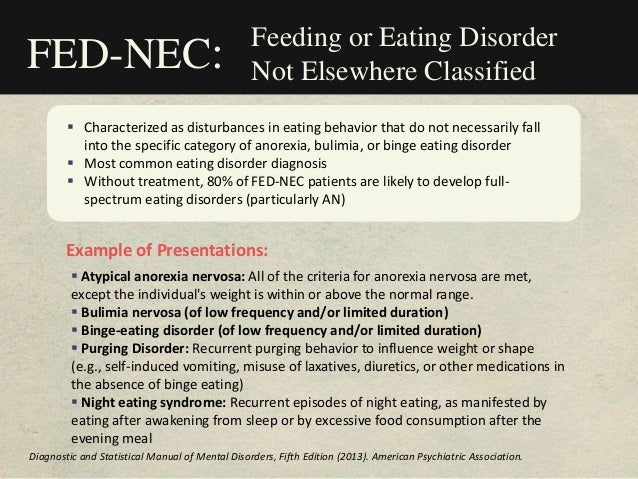 Feeding or Eating Disorder Not Elsewhere Classified  Characterized as disturbances in eating behavior that do not necessa...