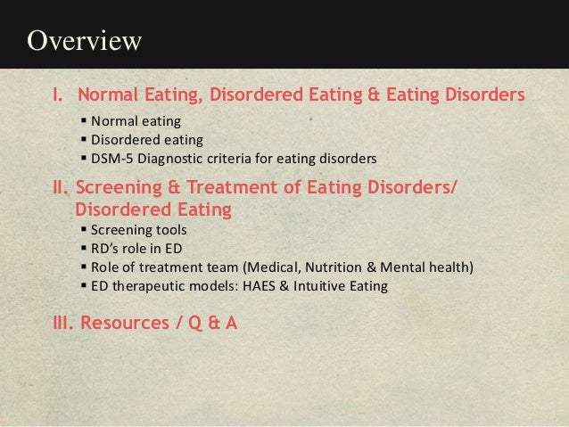 Overview I. Normal Eating, Disordered Eating & Eating Disorders  Normal eating  Disordered eating  DSM-5 Diagnostic cri...