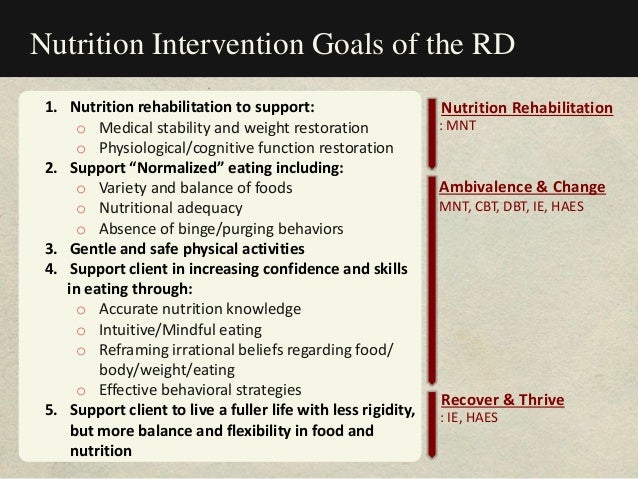 Nutrition Intervention Goals of the RD 1. Nutrition rehabilitation to support: o Medical stability and weight restoration ...