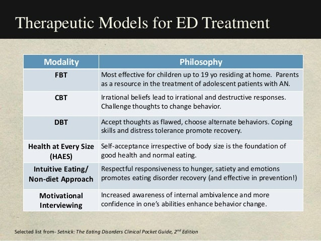 Therapeutic Models for ED Treatment Modality Philosophy FBT Most effective for children up to 19 yo residing at home. Pare...