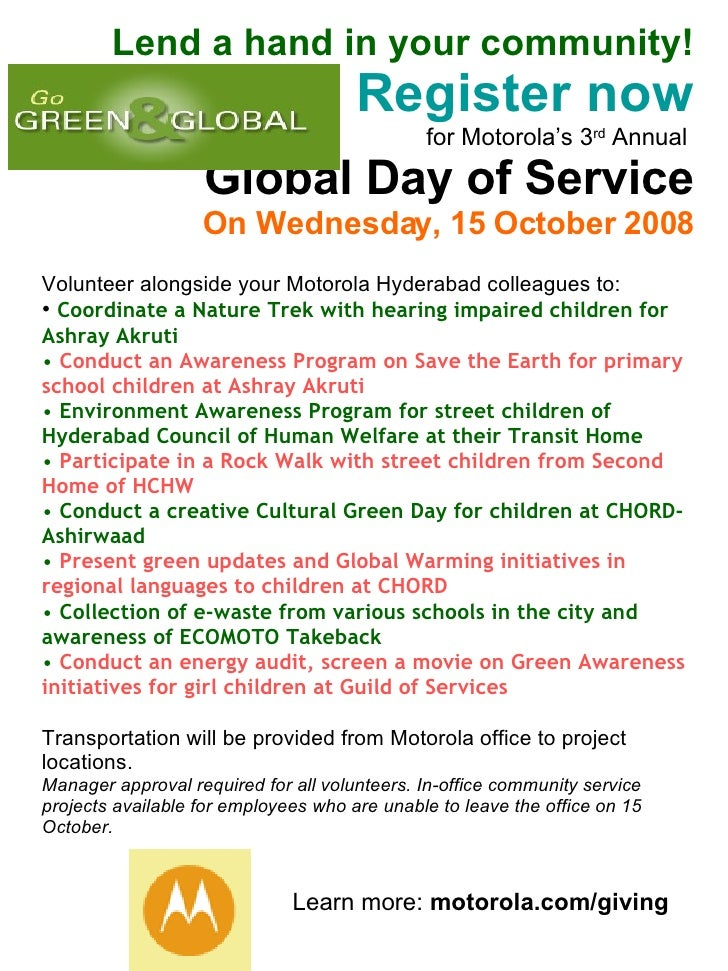Lend a hand in your community! Register now for Motorola's 3 rd  Annual  Global Day of Service On Wednesday, 15 October 20...