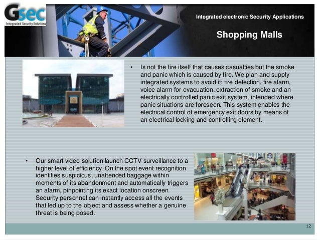 12 Integrated electronic Security Applications Shopping Malls • Is not the fire itself that causes casualties but the smok...