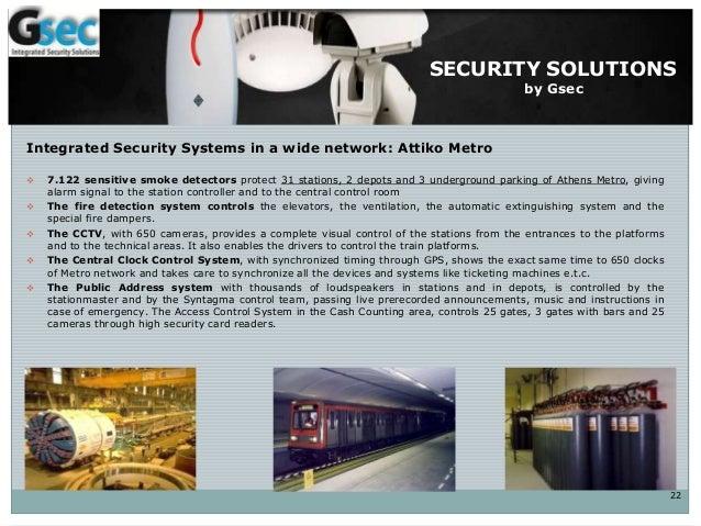 ΣΥΣΤΗΜΑΤΑ ΑΣΦΑΛΕΙΑΣ Integrated Security Systems in a wide network: Attiko Metro  7.122 sensitive smoke detectors protect ...