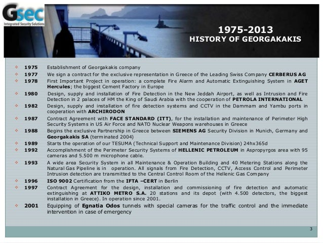 1975-2013 HISTORY OF GEORGAKAKIS  1975 Establishment of Georgakakis company  1977 We sign a contract for the exclusive r...
