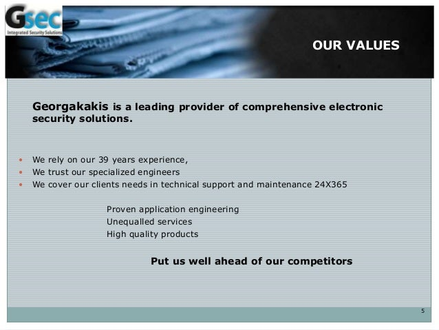 OUR VALUES Georgakakis is a leading provider of comprehensive electronic security solutions.  We rely on our 39 years exp...