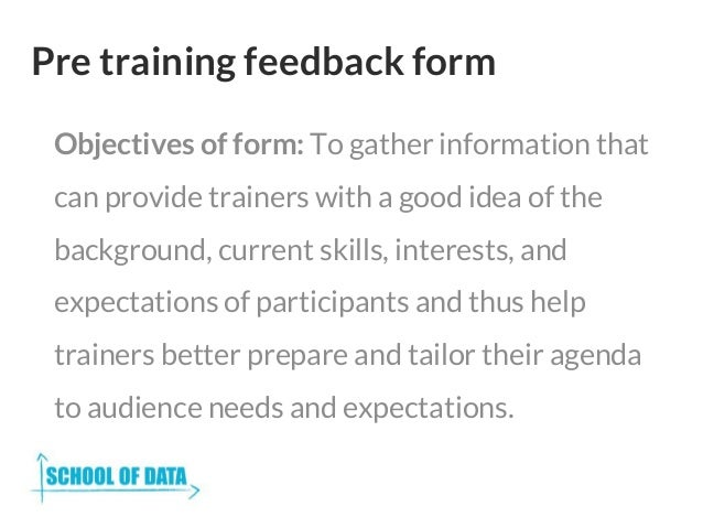 10. Pre Training Feedback Form ...  Evaluation Forms For Trainers