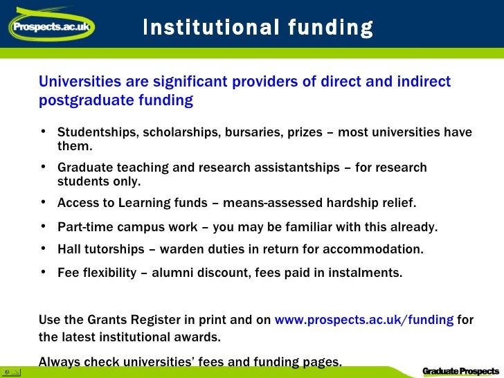 Postgraduate Funding Grants, Awards, Bursaries & Fee Waivers