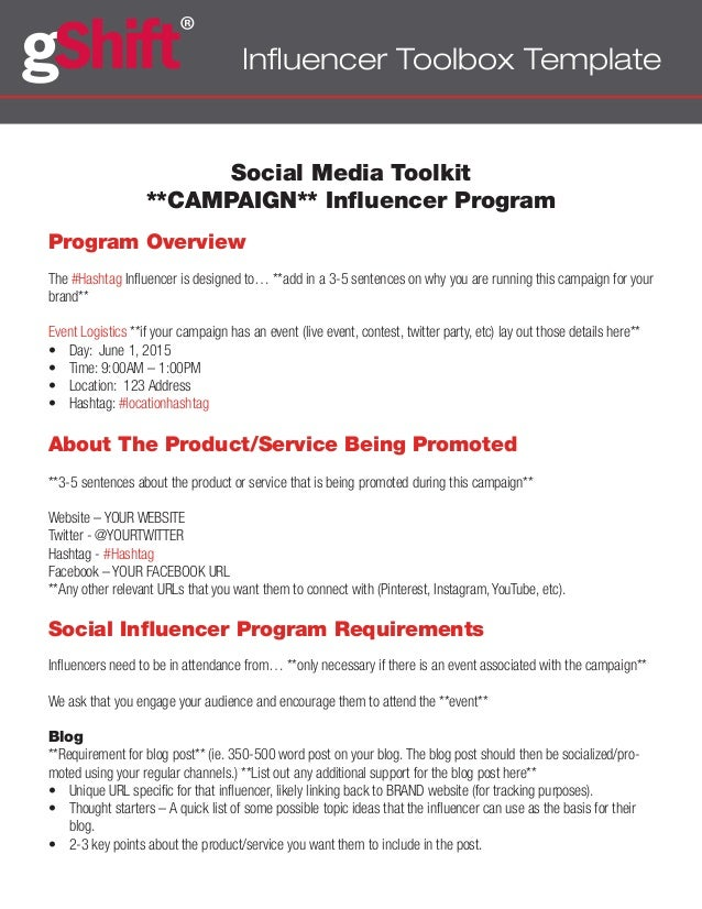 Influencer Toolbox Template Social Media Toolkit **CAMPAIGN** Influencer Program Program Overview The #Hashtag Influencer ...