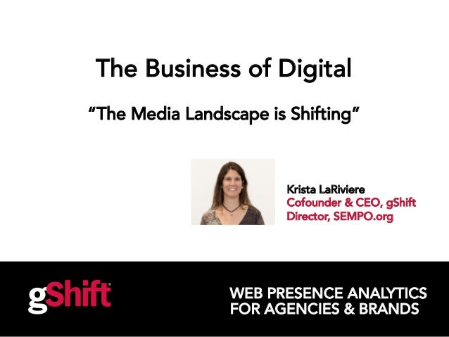 "WEB PRESENCE ANALYTICS FOR AGENCIES & BRANDS The Business of Digital ""The Media Landscape is Shifting"" Krista LaRiviere Co..."