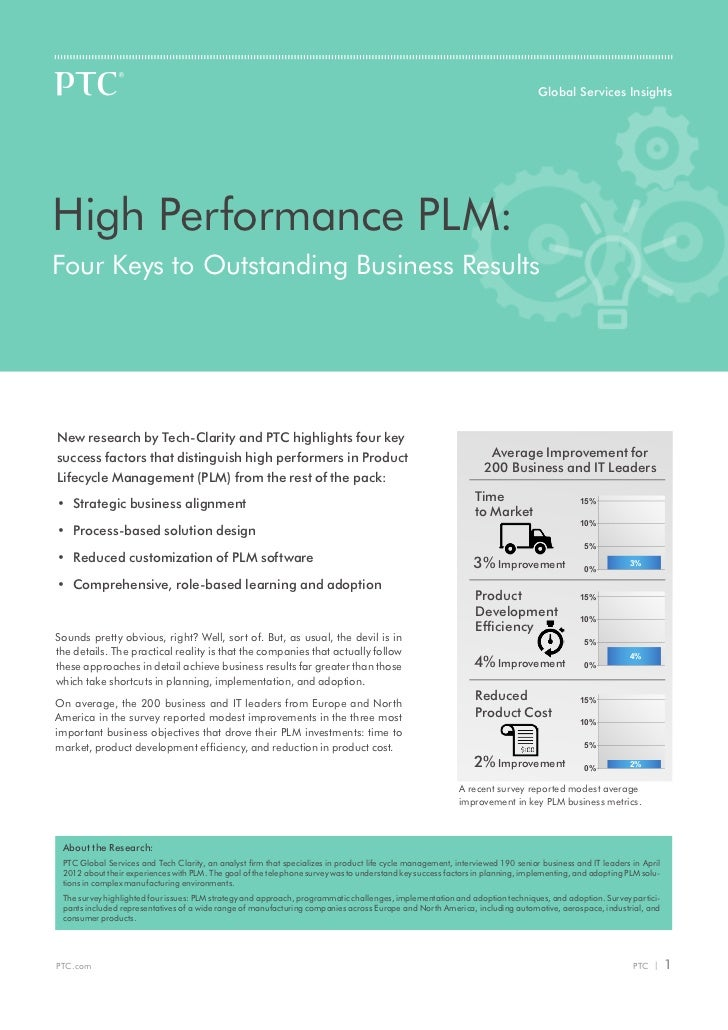 Global Services InsightsHigh Performance PLM:Four Keys to Outstanding Business ResultsNew research by Tech-Clarity and PTC...
