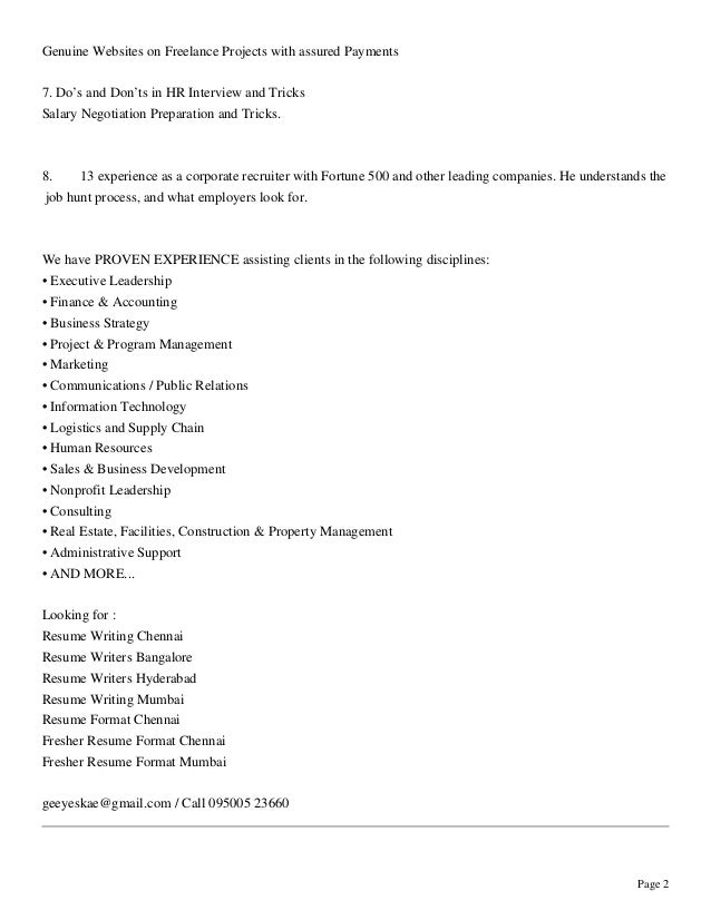 G S Kumar Professional Resume Writer Profile