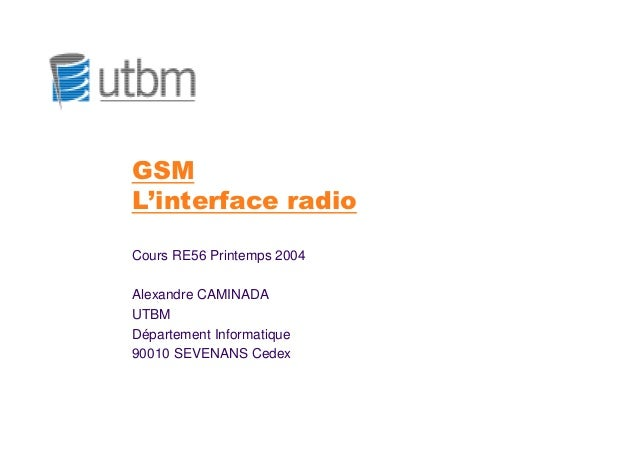 GSML'interface radioCours RE56 Printemps 2004Alexandre CAMINADAUTBMDépartement Informatique90010 SEVENANS Cedex