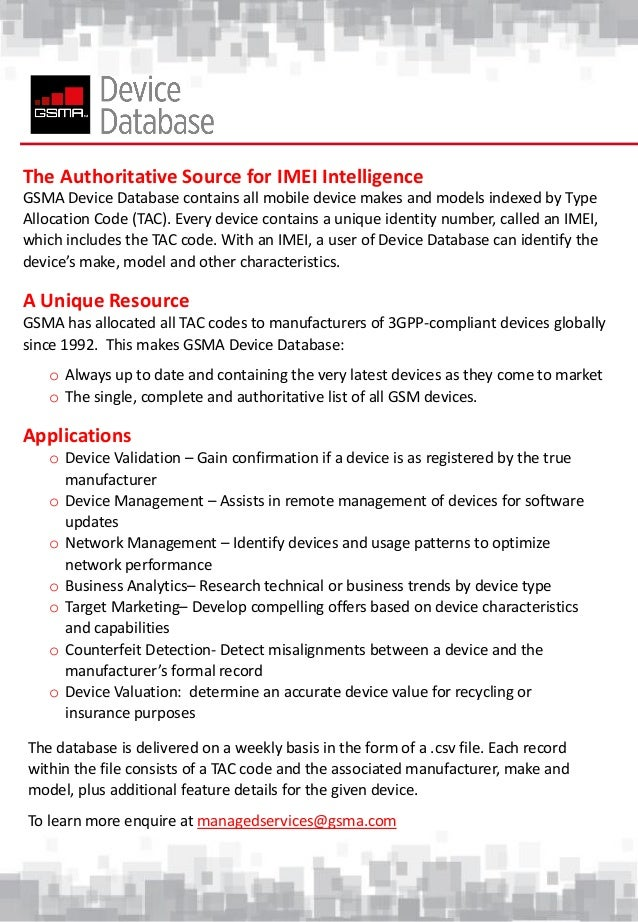Gsma Device Database