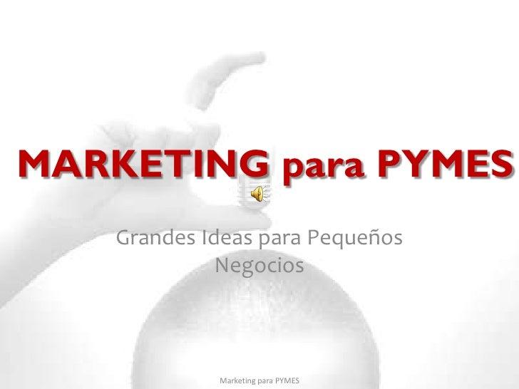 MARKETING para PYMES   Grandes Ideas para Pequeños             Negocios            Marketing para PYMES