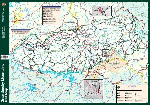 Great Smoky Mountains National Park- Trails Map