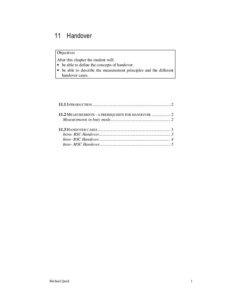 11 Handover    Objectives    After this chapter the student will:    • be able to define the concepts of handover.    • be...