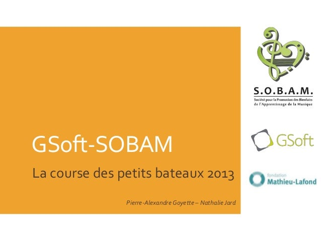 GSoft-SOBAMLa course des petits bateaux 2013Pierre-Alexandre Goyette – Nathalie Jard
