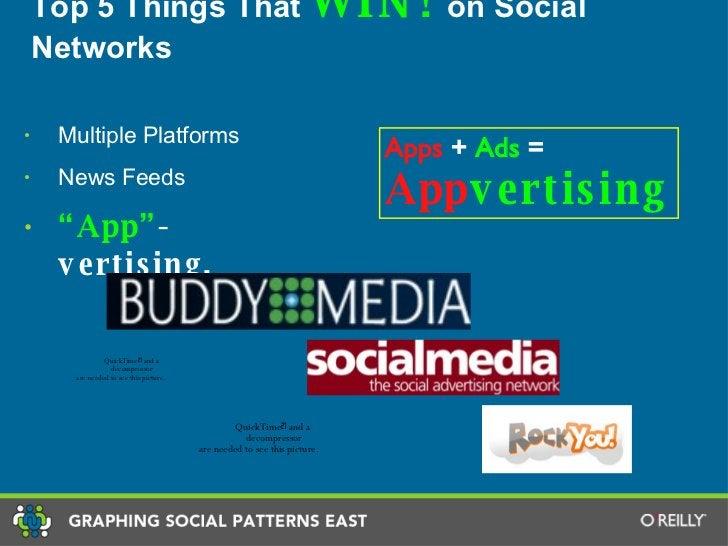 "Top 5 Things That  WIN!  on Social Networks <ul><li>Multiple Platforms </li></ul><ul><li>News Feeds </li></ul><ul><li>"" Ap..."