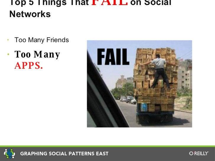 Top 5 Things That  FAIL  on Social Networks <ul><li>Too Many Friends </li></ul><ul><li>Too Many  APPS. </li></ul>