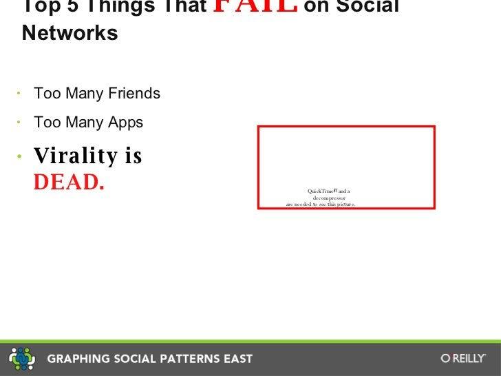 Top 5 Things That  FAIL  on Social Networks <ul><li>Too Many Friends </li></ul><ul><li>Too Many Apps </li></ul><ul><li>Vir...