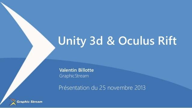 Unity 3d & Oculus Rift Valentin Billotte GraphicStream  Présentation du 25 novembre 2013