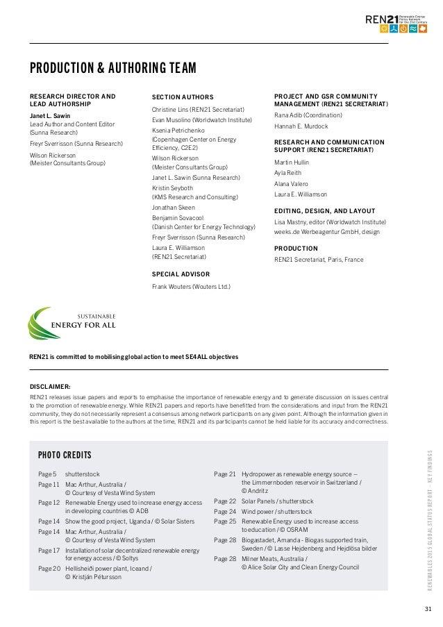 Renewables 2015 Global Status Report