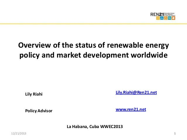 Click to edit Master title style • Click to edit Master text styles Overview of the status of renewable energy – Second le...