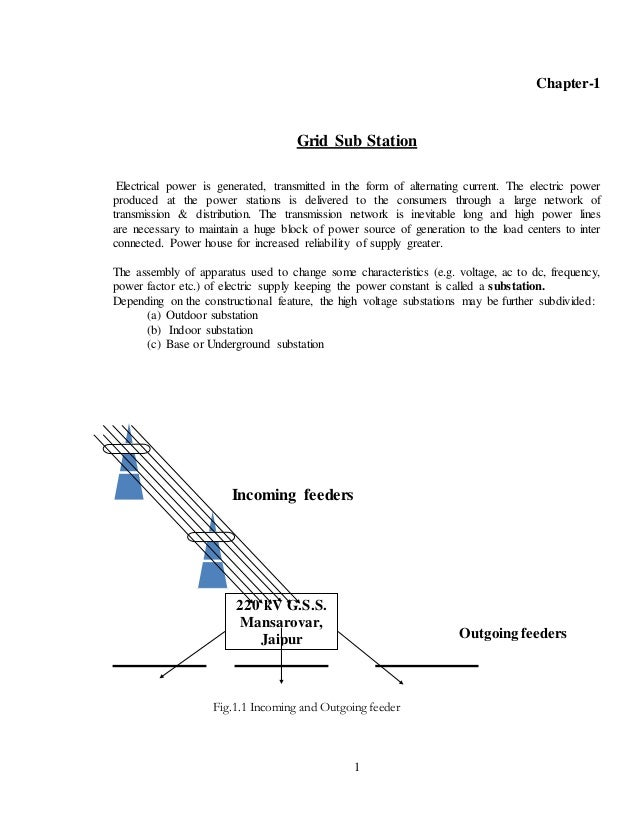 gss report Gss report 1 1 chapter-1 grid sub station electrical power is generated, transmitted in the form of alternating current the electric power produced at.