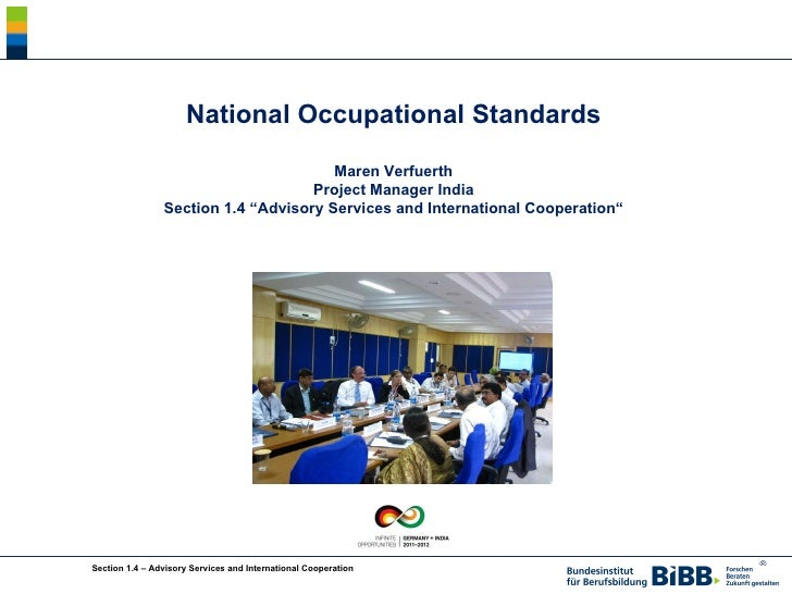 """National Occupational Standards Maren Verfuerth Project Manager India Section 1.4 """"Advisory Services and International Coo..."""