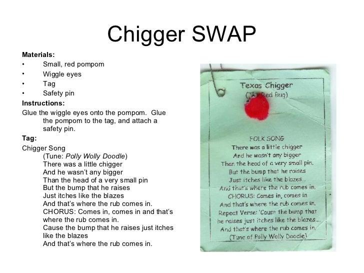 Chigger SWAP <ul><li>Materials:  </li></ul><ul><li>Small, red pompom </li></ul><ul><li>Wiggle eyes </li></ul><ul><li>Tag <...