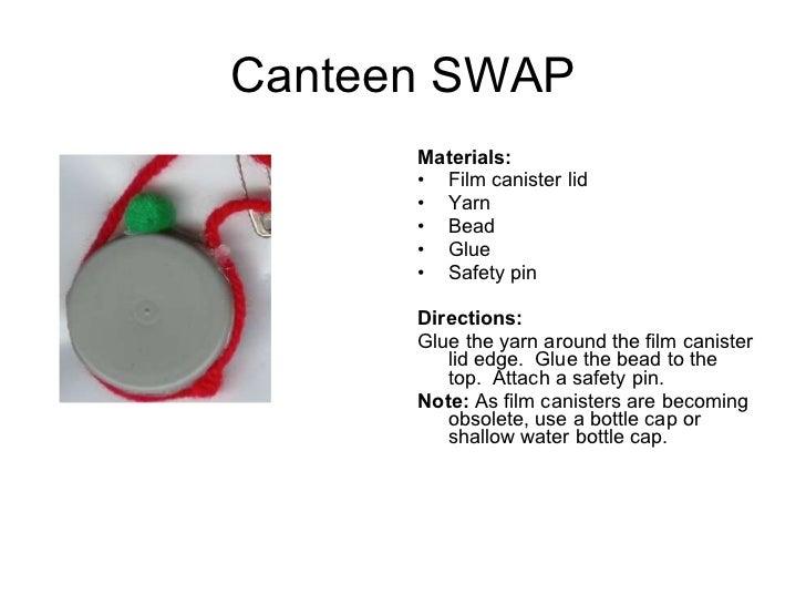 Canteen SWAP <ul><li>Materials:  </li></ul><ul><li>Film canister lid </li></ul><ul><li>Yarn </li></ul><ul><li>Bead </li><...