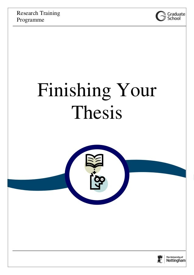 Research Training Programme Finishing Your Thesis